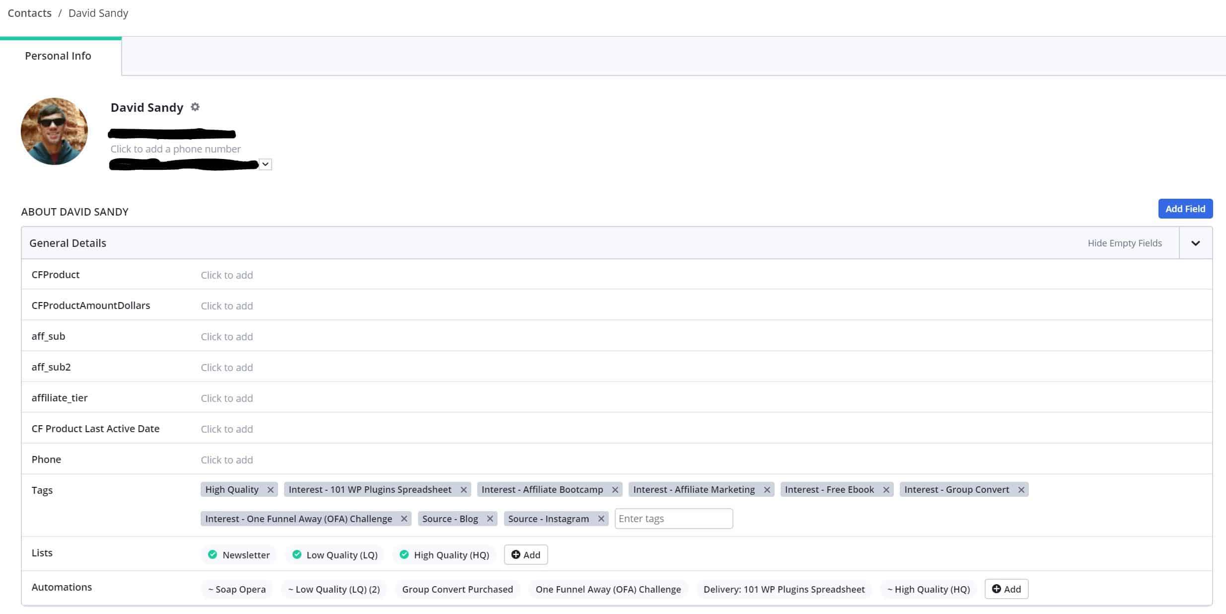 ActiveCampaign Contact Profiles