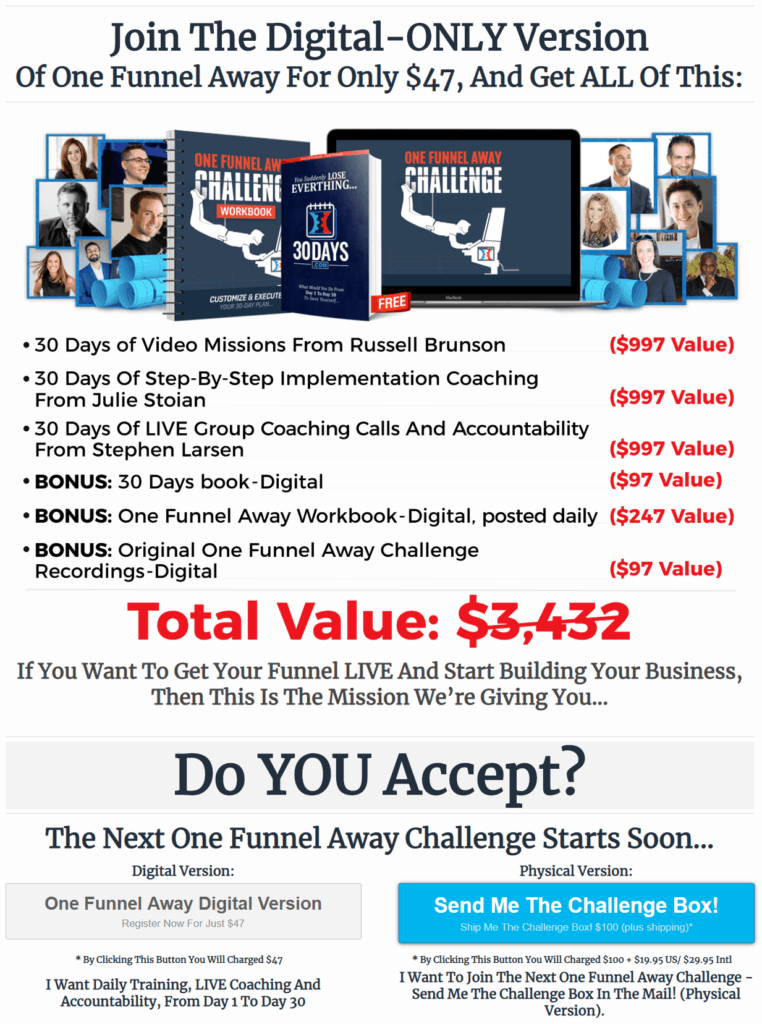 Lead Funnels Review One Funnel Away Challenge Downsell