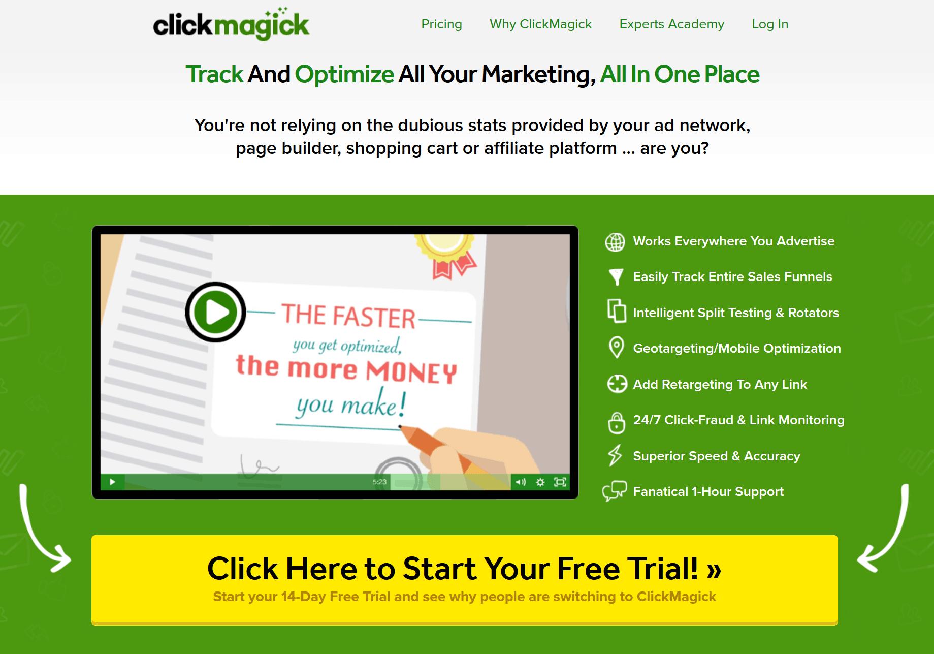 ClickMagick URL Shortener Home Page
