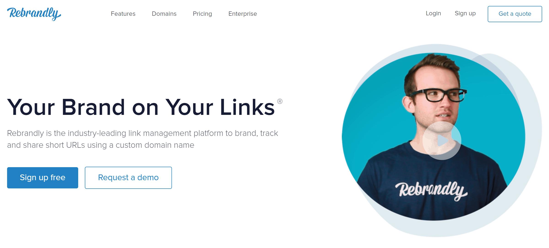 Rebrandly URL Shortener Home Page