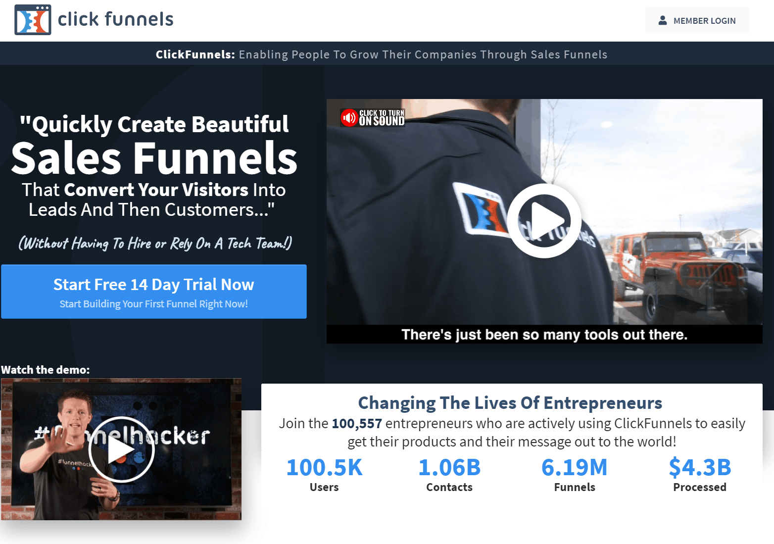 ClickFunnels Sales Funnel Software Home Page