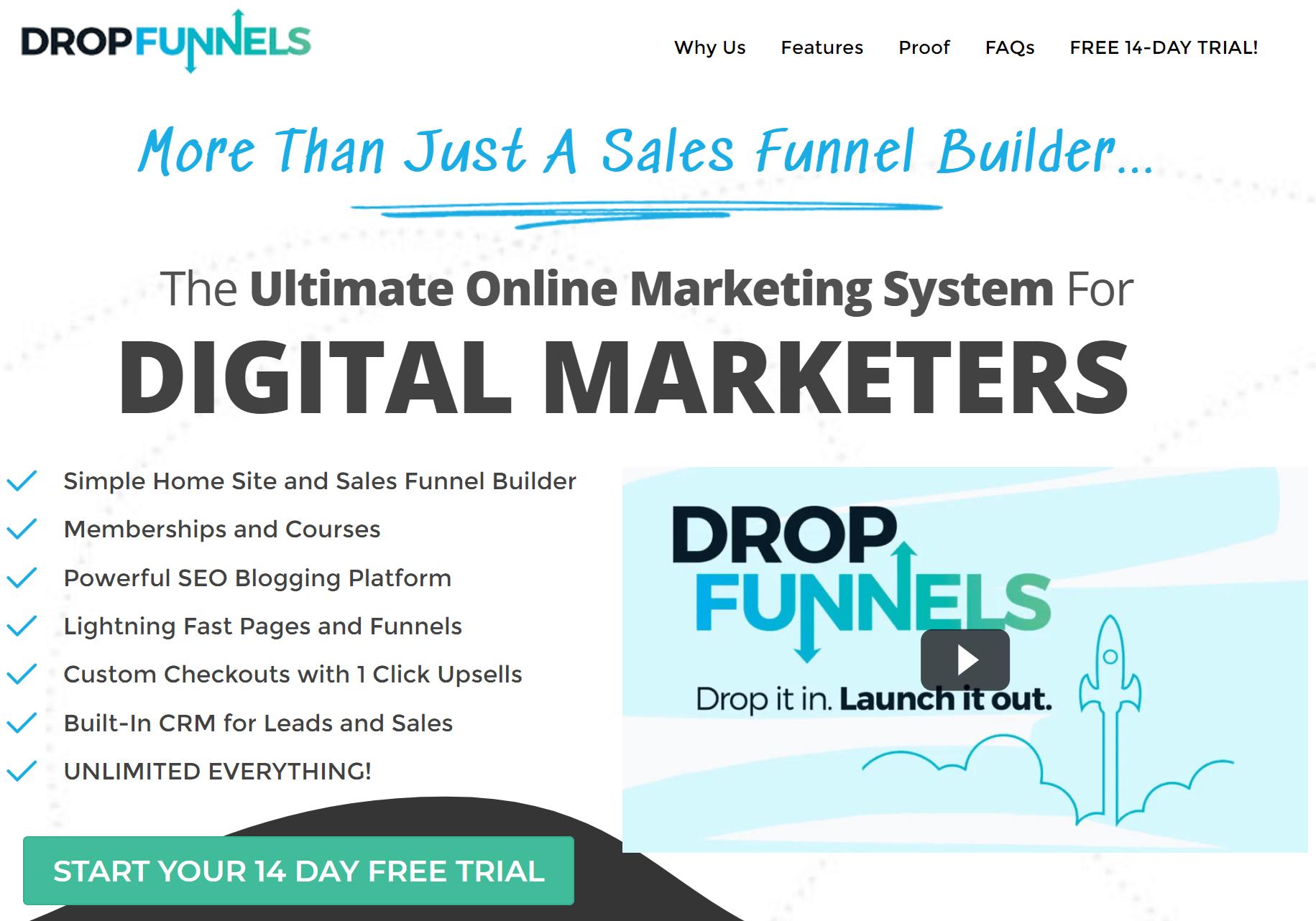 DropFunnels Best Sales Funnel Builder Software Home Page