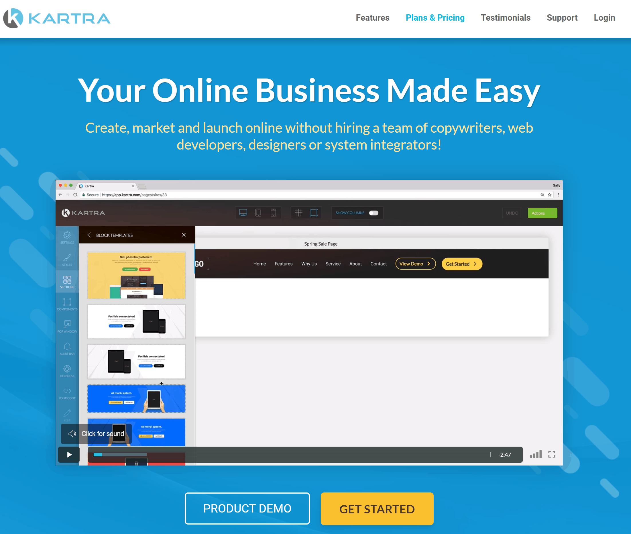Kartra Sales Funnel Builder Home Page