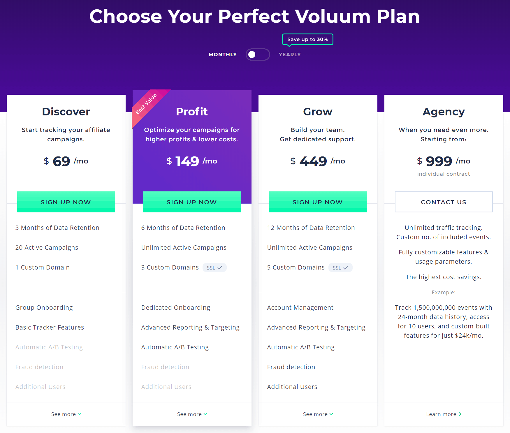Voluum Link Tracking Software Pricing Plans